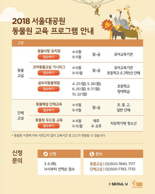 2018 서울대공원 동물원 교육프로그램 안내