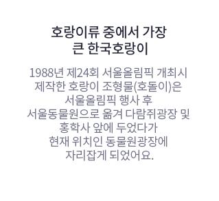 호랑이류 중에서 가장 큰 한국호랑이 1988년 제24회 서울올림픽 개최시 제작한 호랑이 조형물(호돌이)은 서울올림픽 행사 후 서울동물원으로 옮겨 다람쥐광장 및 홍학사 앞에 두었다가 현재 위치인 동물원광장에 자리잡게 되었어요.
